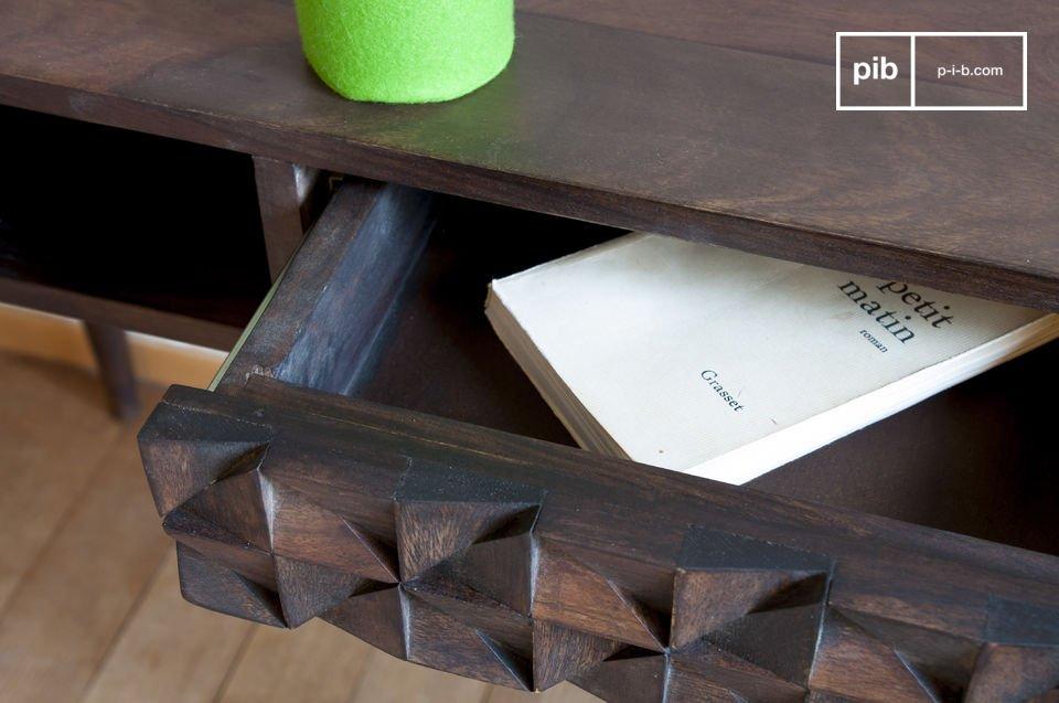 Bureau en bois balkis reliefs géométriques pib