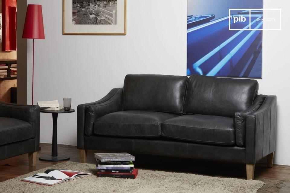 Magnifique canapé en cuir noir pleine fleur