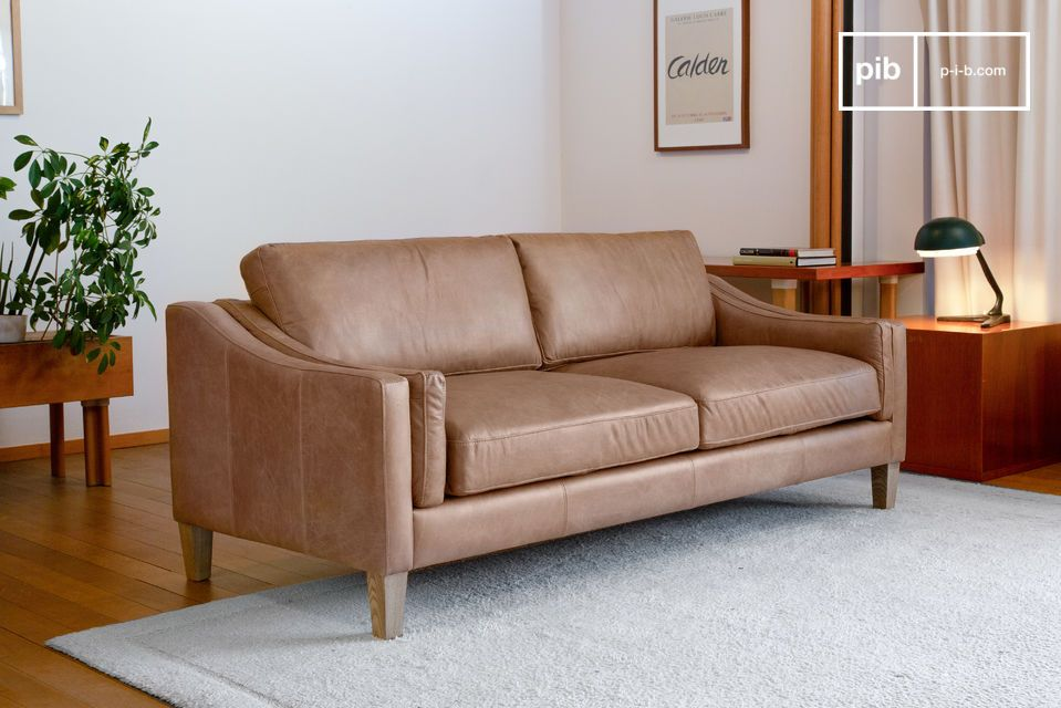 Grand canapé en cuir pleine fleur de couleur sable