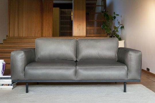 Canapé Almond en cuir gris