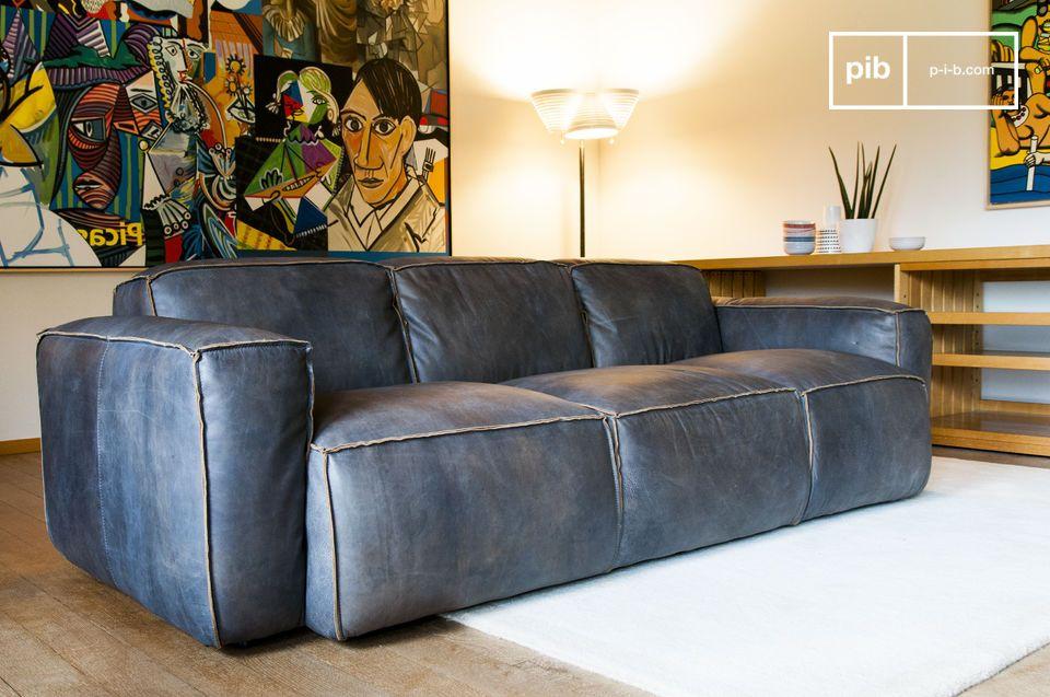 Canapé scandinave en cuir effet vintage