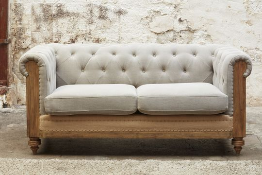 Canapé Chesterfield Montaigu 2 places gris