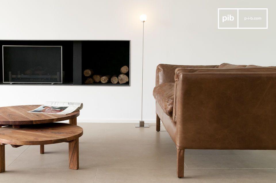 Canapé vintage en cuir pleine fleur disponible en 2 ou 3 places