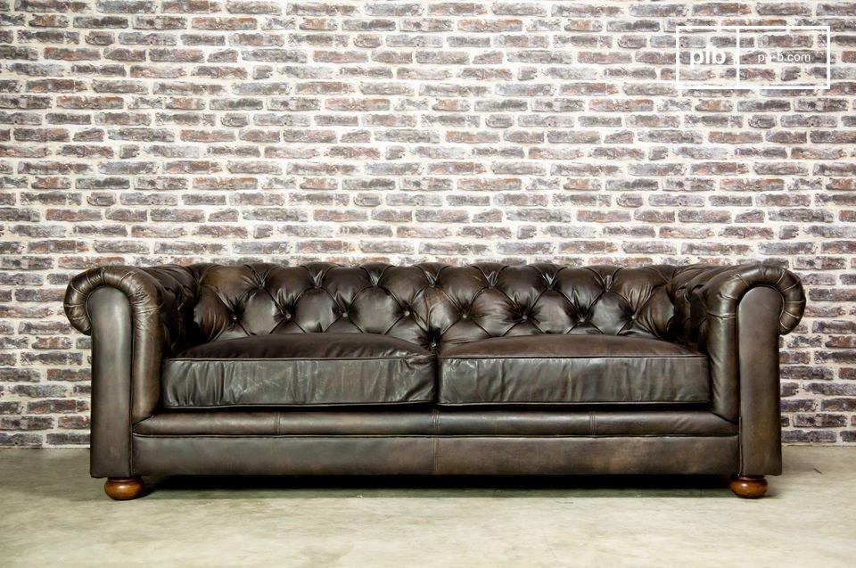 Canapé en cuir style chesterfield