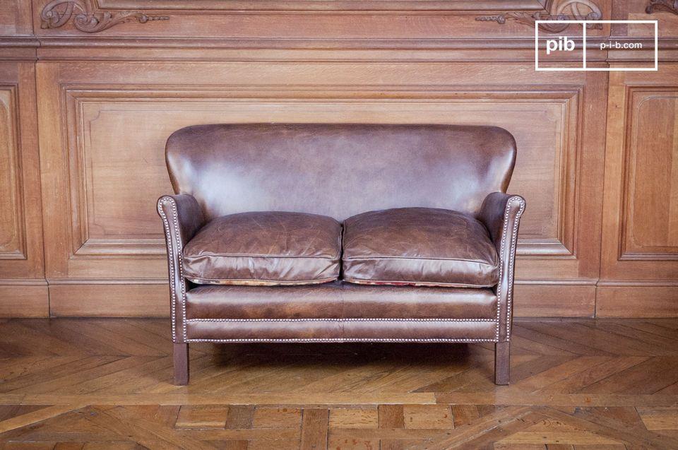 Canapé en cuir de style vintage