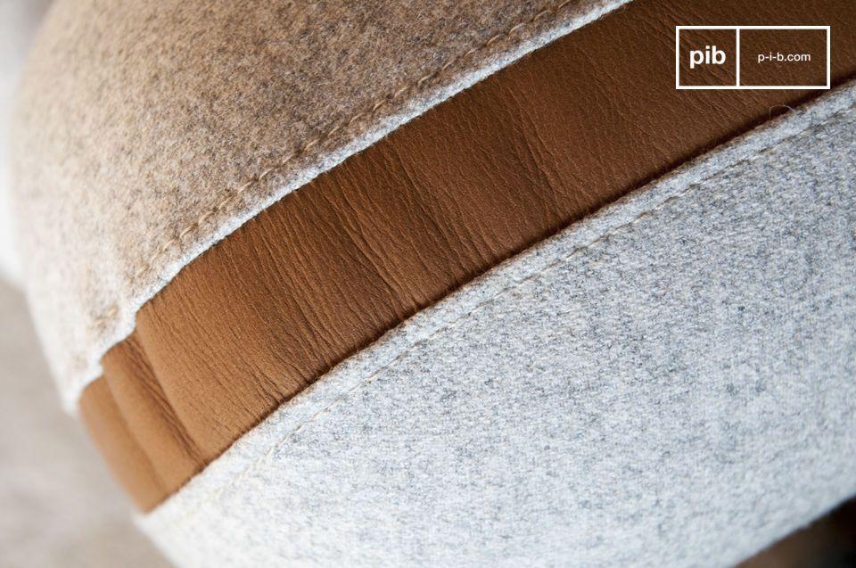 Laine et cuir pour un canapé rétro aux rondeurs graphiques