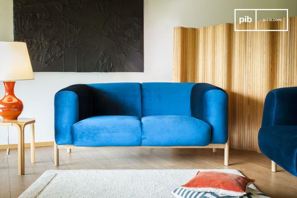 canap en velours viela velours bleu et pieds bois pib. Black Bedroom Furniture Sets. Home Design Ideas