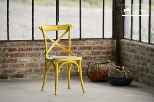 Chaise rustique bistrot pampelune jaune