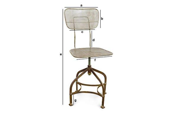 Dimensions du produit Chaise d'atelier en tôle perforée