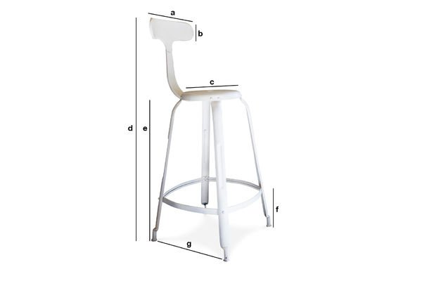 Dimensions du produit Chaise de bar à rivets blanche