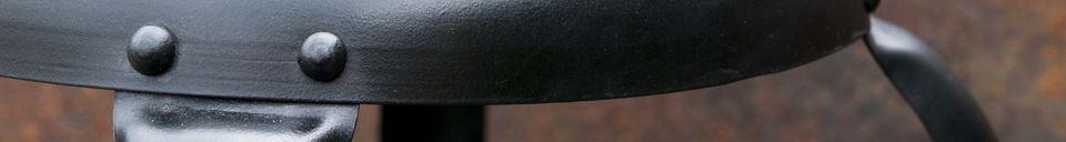 Mise en avant matière Chaise de bar à rivets noire