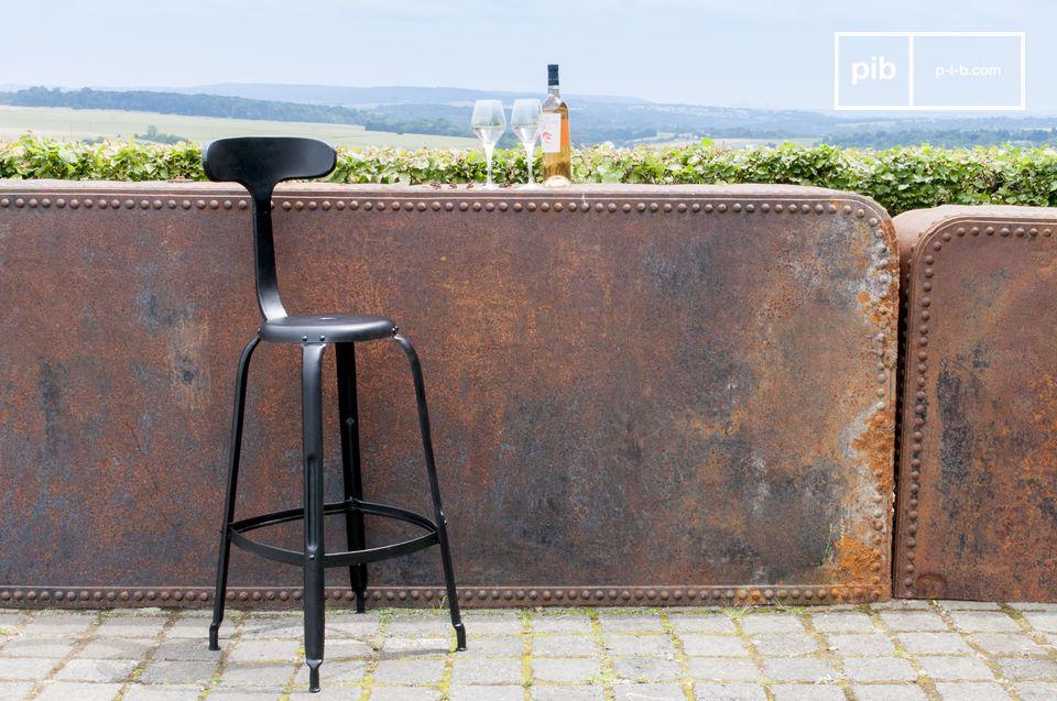 Chaise de bar à rivets noire