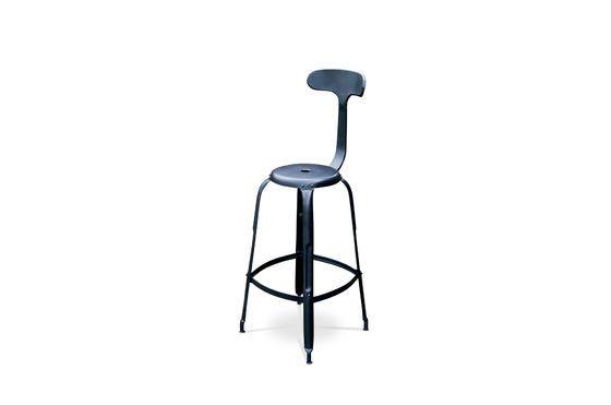 Chaise de bar à rivets noire Détouré