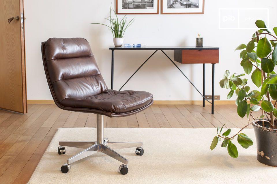 Chaise de bureau en cuir Breunor