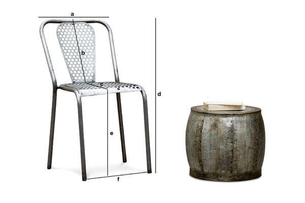 Dimensions du produit Chaise métal Butte aux cailles