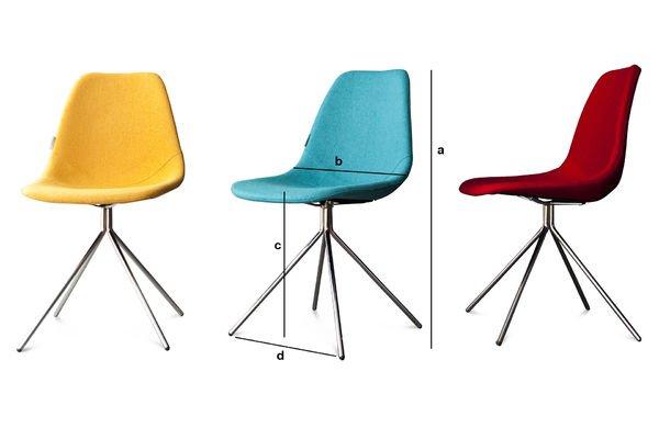 Dimensions du produit Chaise Piramis Bleue