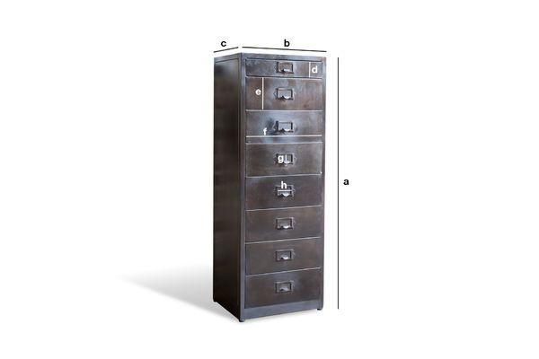 Dimensions du produit Classeur en métal 8 tiroirs Telex