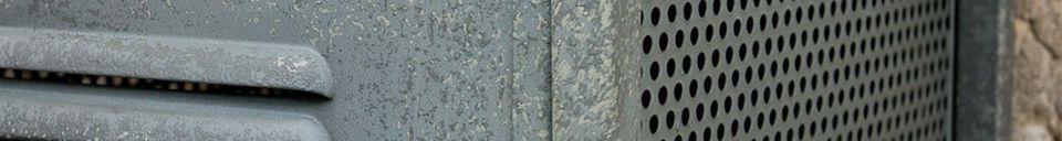 Mise en avant matière Colonne métallique 4 tiroirs