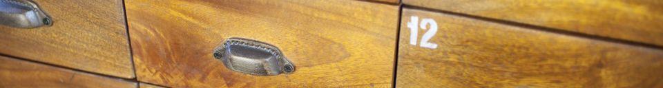 Mise en avant matière Commode bois-métal Shawinigan