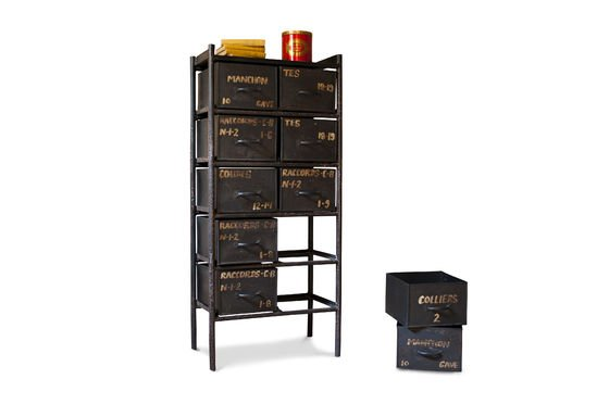 commode d 39 atelier 10 tiroirs un rangement 100 m tal pib. Black Bedroom Furniture Sets. Home Design Ideas