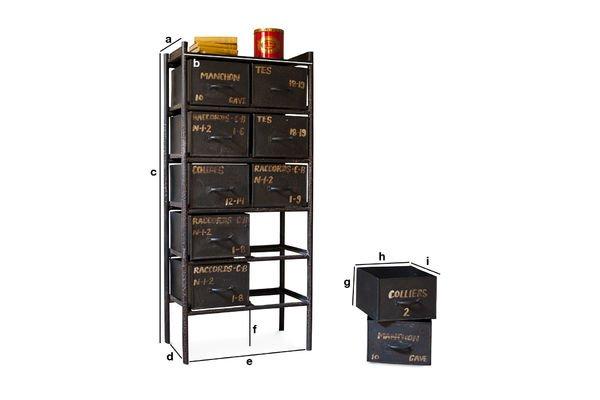 Dimensions du produit Commode d'atelier 10 tiroirs