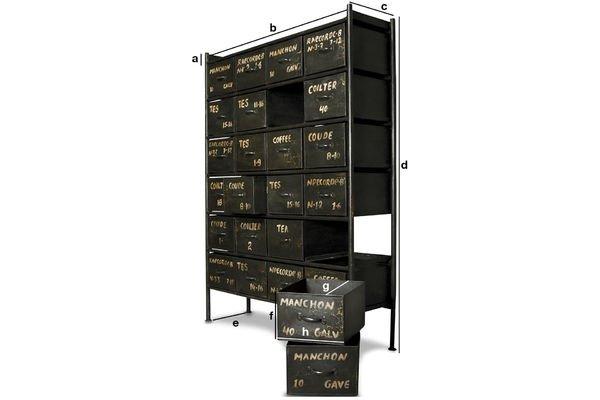Dimensions du produit Commode d'atelier 24 tiroirs