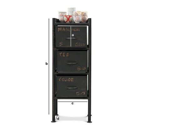Dimensions du produit Commode d'atelier 3 tiroirs