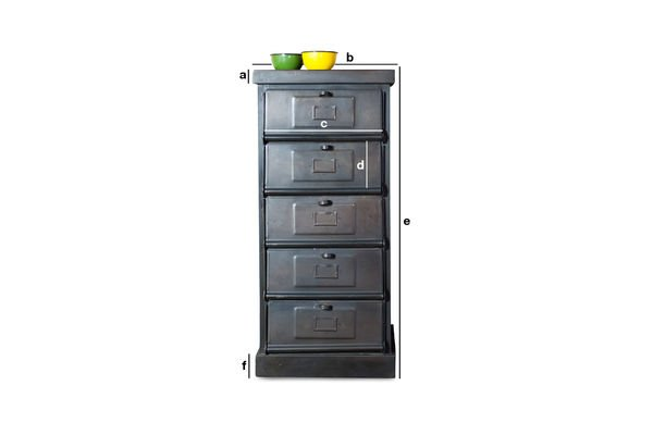 commode m tallique 5 clapets le rangement d co loft pib. Black Bedroom Furniture Sets. Home Design Ideas