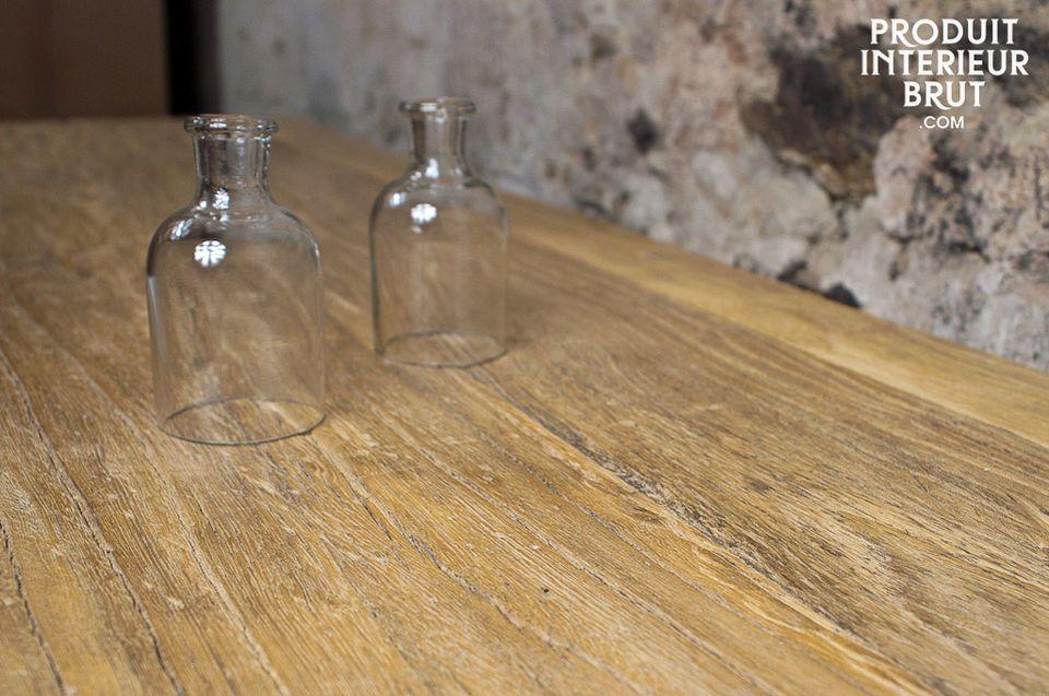 Console en orme recyclé et piètement en fer