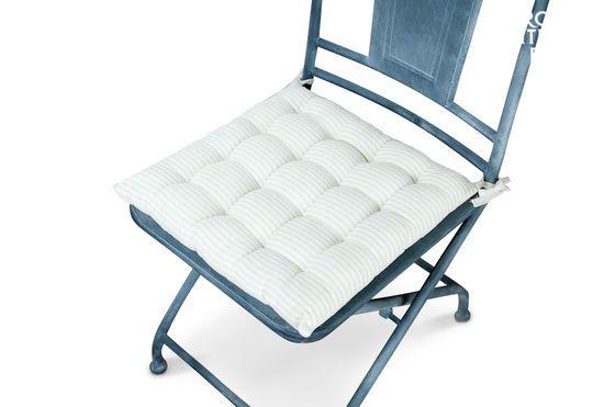Coussin de chaise en lin blanc-beige Détouré
