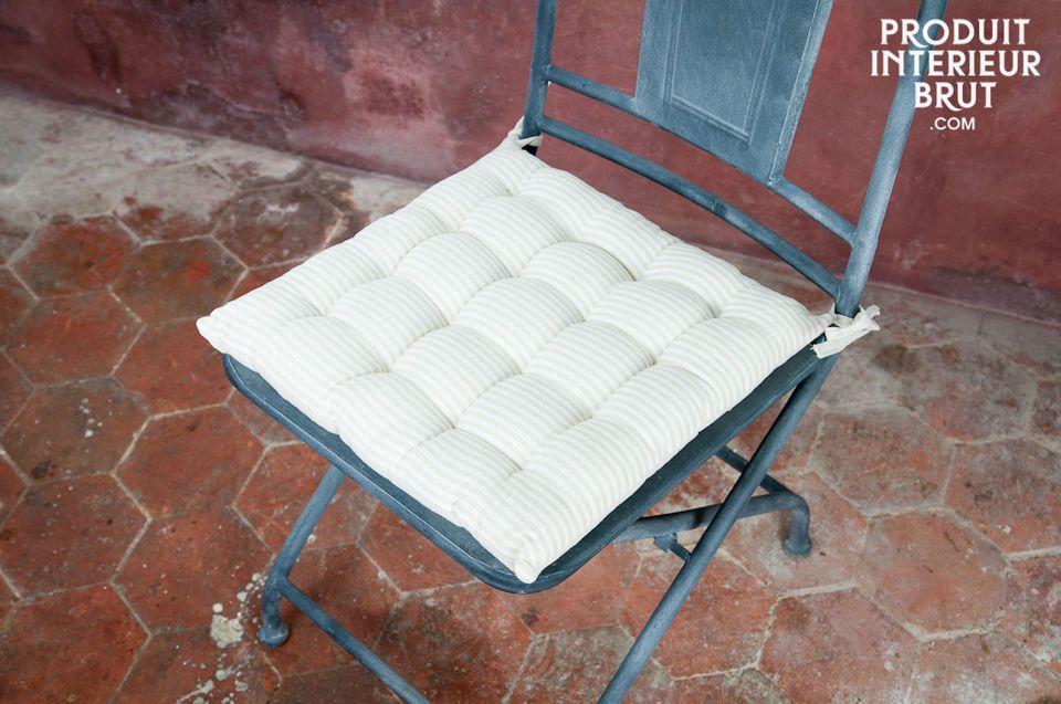 Coussin de chaise en lin blanc-beige