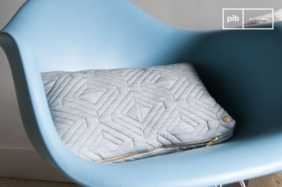 Coussin Quilt gris clair