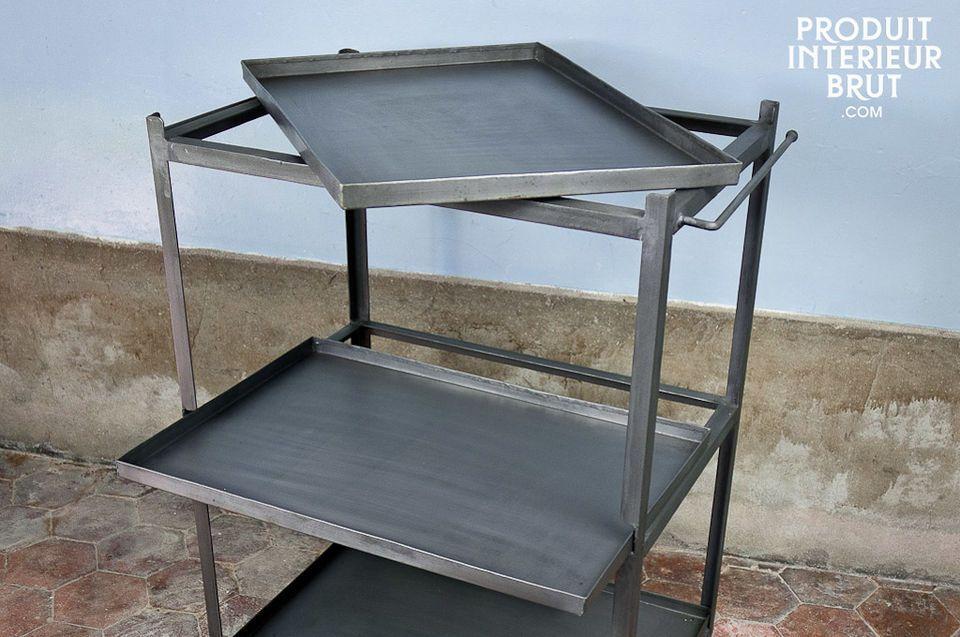 Un style métallique brut, trois plateaux amovibles