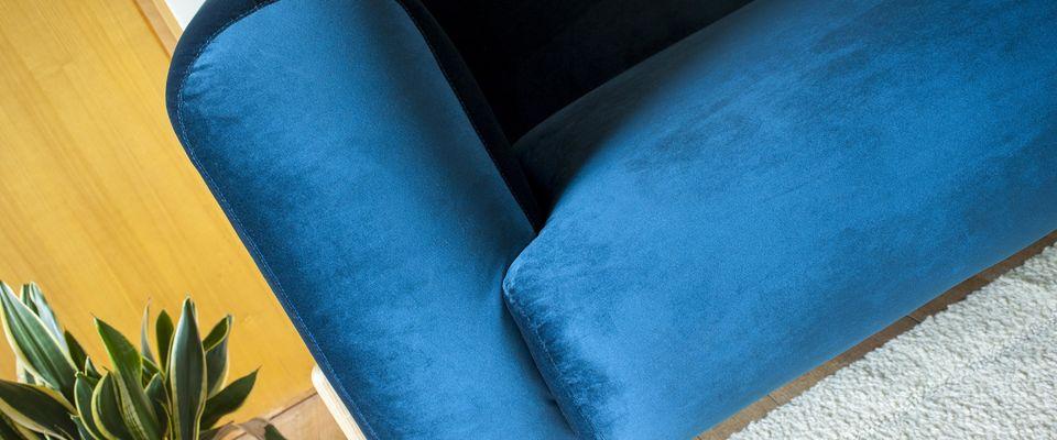 Fauteuil velours bleu viela
