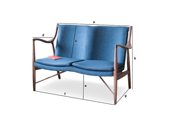 Dimensions du produit Double fauteuil en frêne Graham
