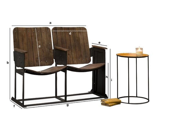Dimensions du produit Double siège de théâtre