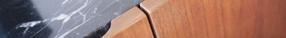 Mise en avant matière Enfilade bois et marbre Lovisa