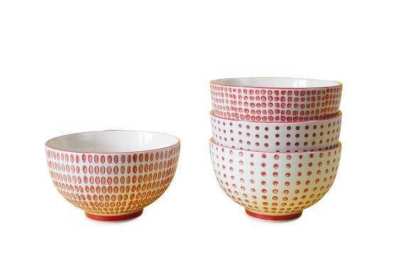Ensemble de 4 bols à pois rouges Détouré