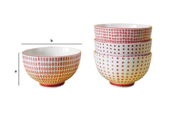 Dimensions du produit Ensemble de 4 bols à pois rouges