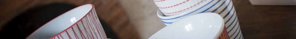 Mise en avant matière Ensemble de 6 tasses en porcelaine Grite