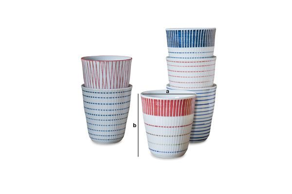 Dimensions du produit Ensemble de 6 tasses en porcelaine Grite