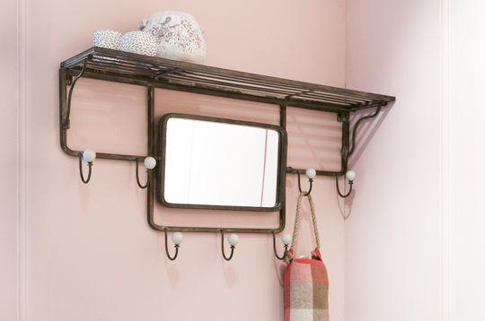 Etagère à crochets et miroir orientable