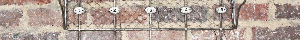 Mise en avant matière Etagère grillagée à crochets numérotés