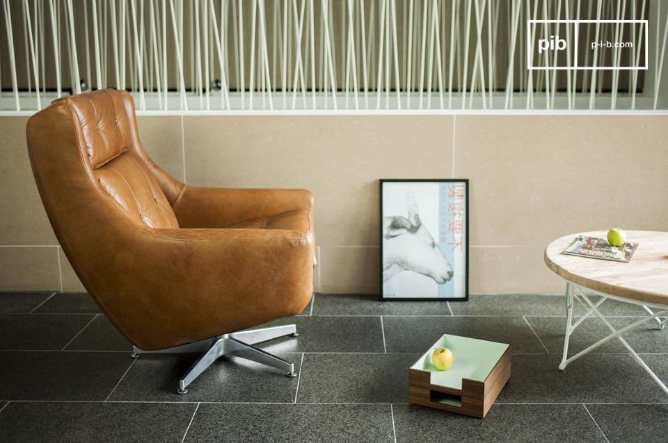 Le fauteuil cuir Bushley est une parfaite illustration de l\'esprit du mobilier design des années