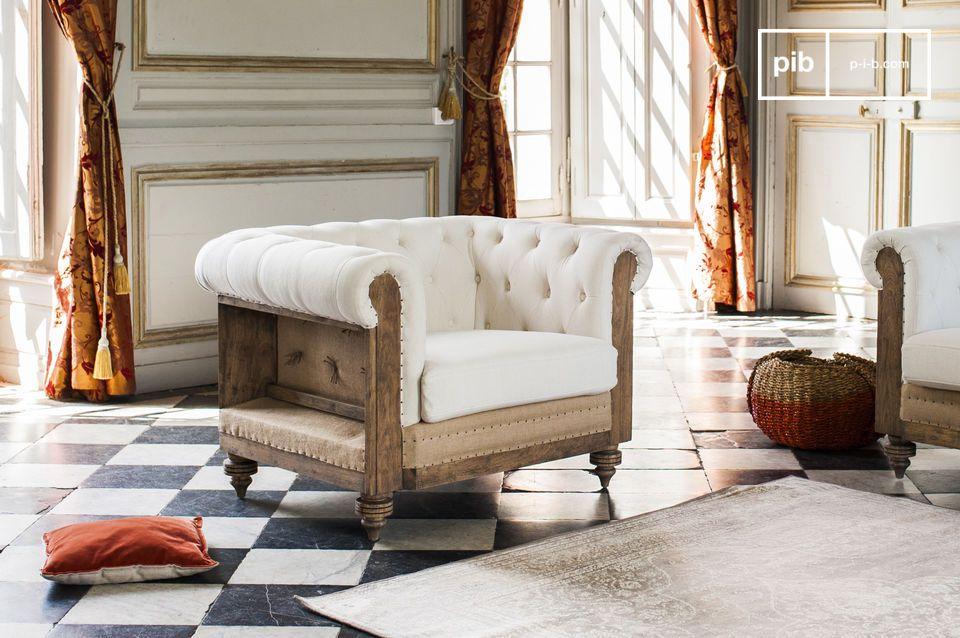 Le fauteuil chesterfield Montaigu affiche un style rétro bohème qui lui confère un charme certain tout en offrant un très bon niveau de confort