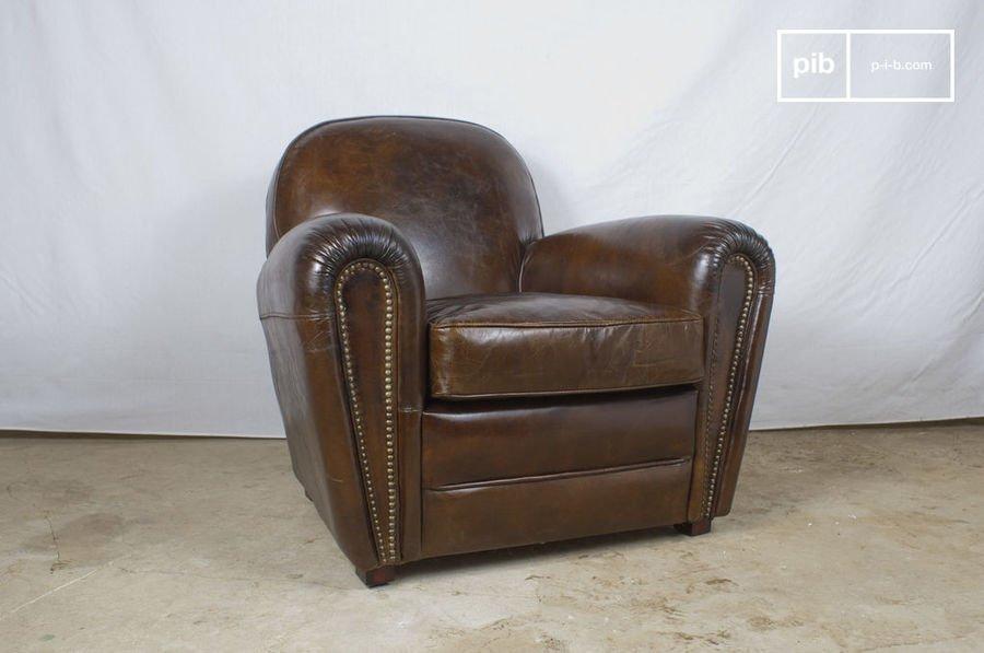 fauteuil Cigar Club en cuir vieilli