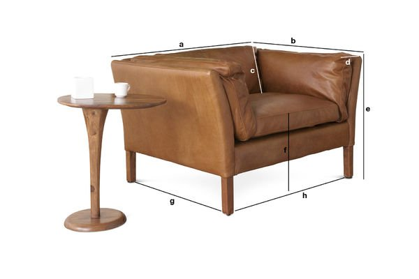 Dimensions du produit Fauteuil en cuir Hamar