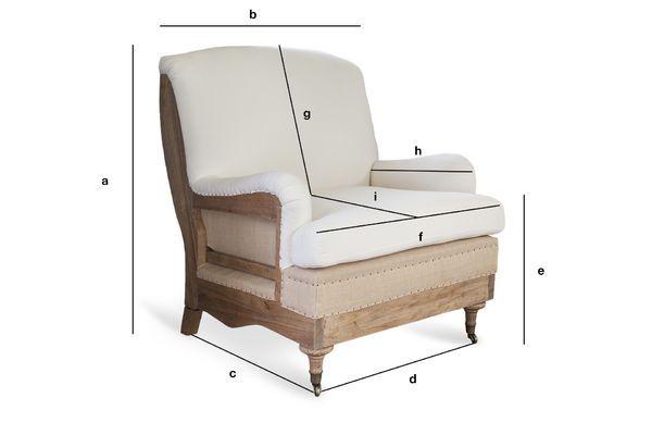 Dimensions du produit Fauteuil en tissu Gustave