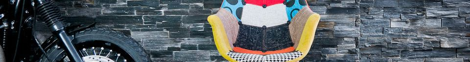 Mise en avant matière Fauteuil Néo patchwork (à boutons)