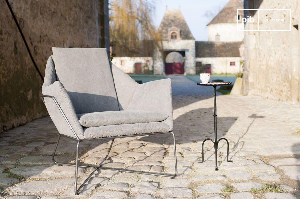 fauteuil traides toile d lav e et acier vieillie pour pib. Black Bedroom Furniture Sets. Home Design Ideas